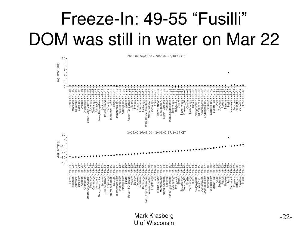 "Freeze-In: 49-55 ""Fusilli"""