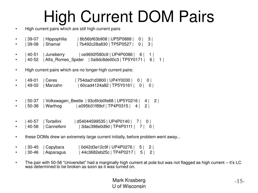 High Current DOM Pairs