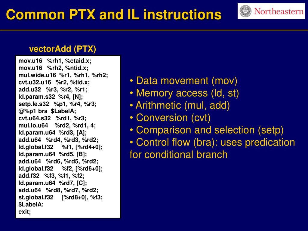 Common PTX and IL instructions