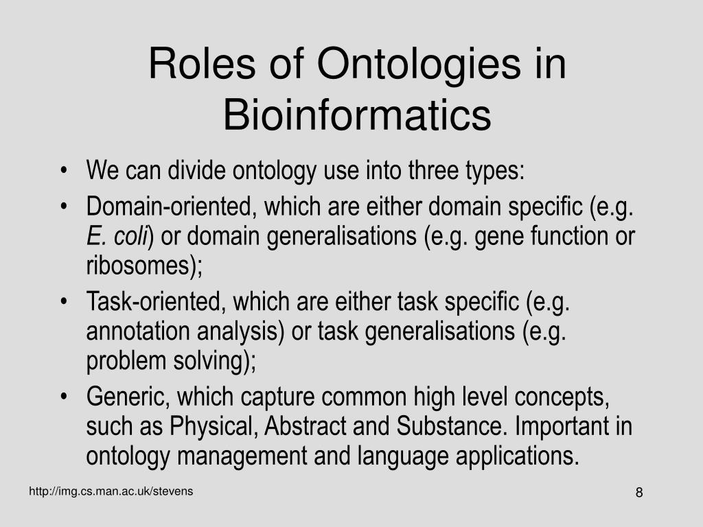 Roles of Ontologies in Bioinformatics