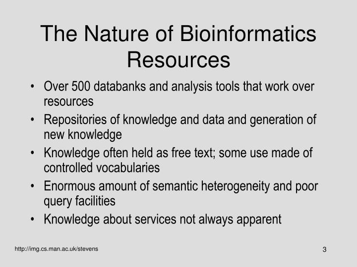 The nature of bioinformatics resources