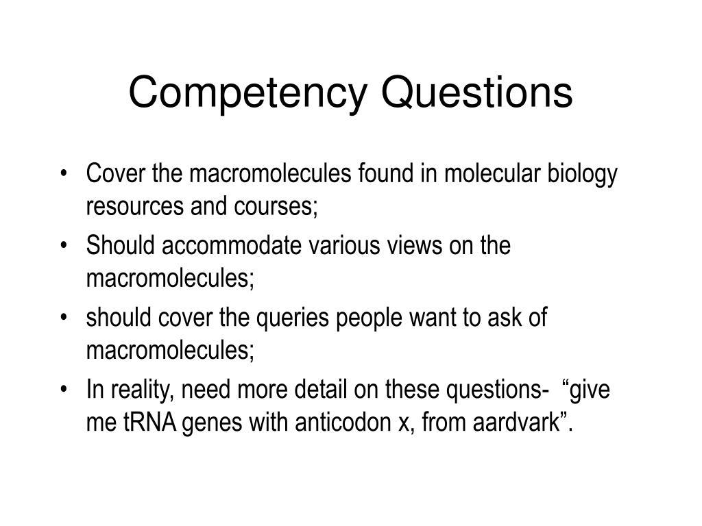 Competency Questions
