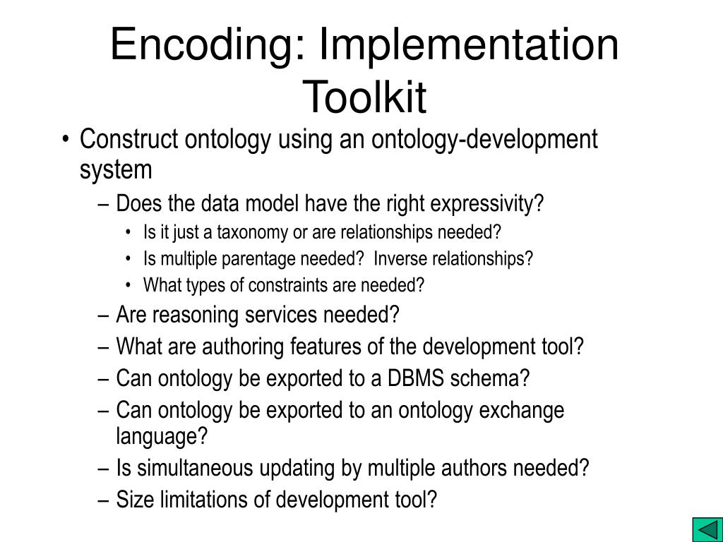 Encoding: Implementation Toolkit