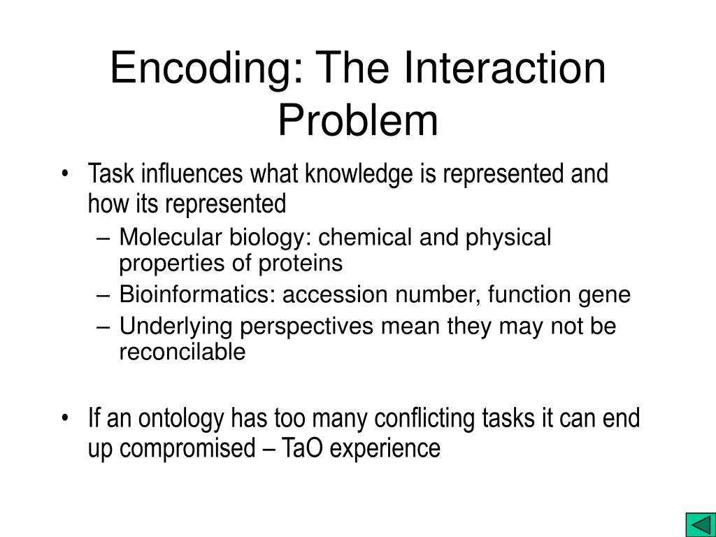 Encoding: The Interaction Problem