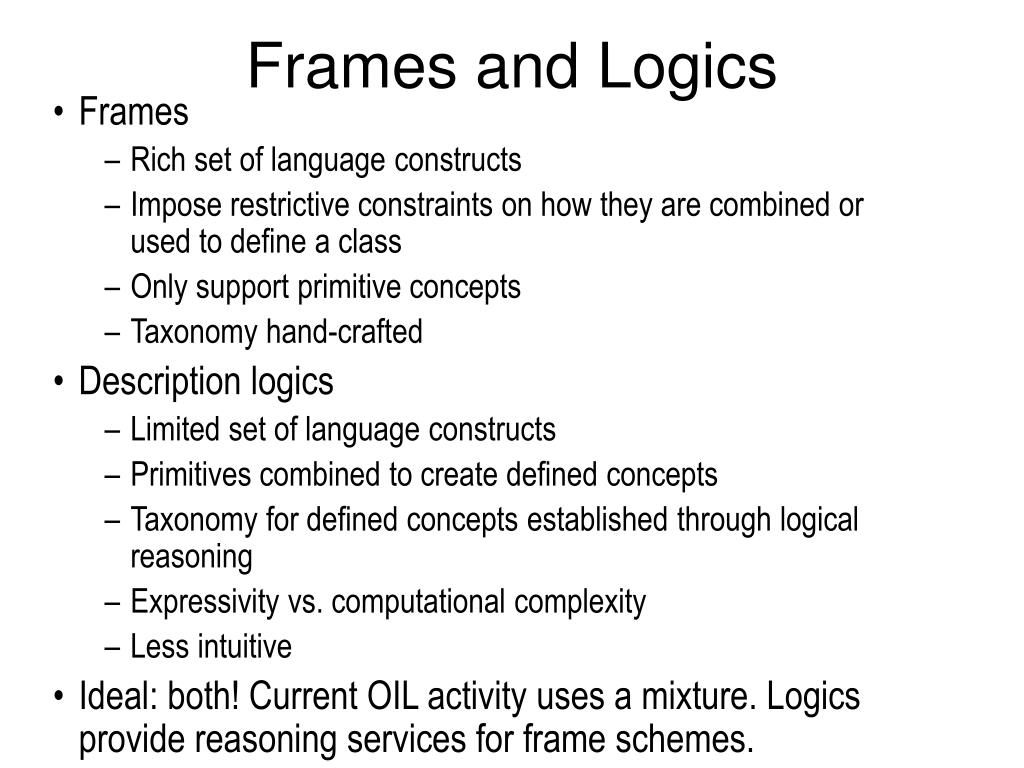 Frames and Logics