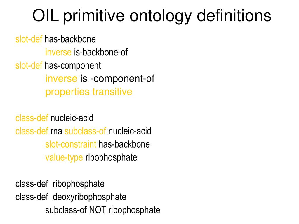 OIL primitive ontology definitions