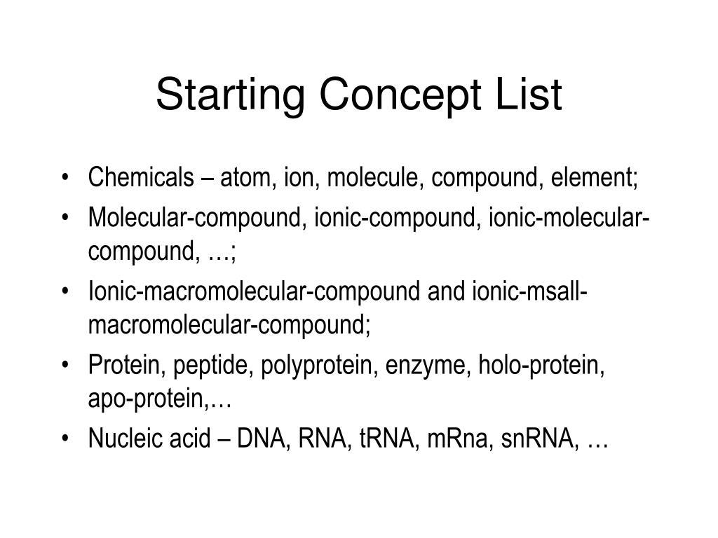 Starting Concept List