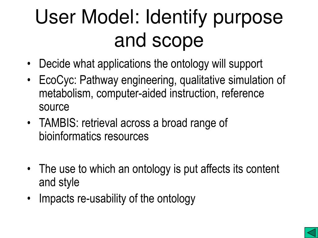 User Model: Identify purpose and scope