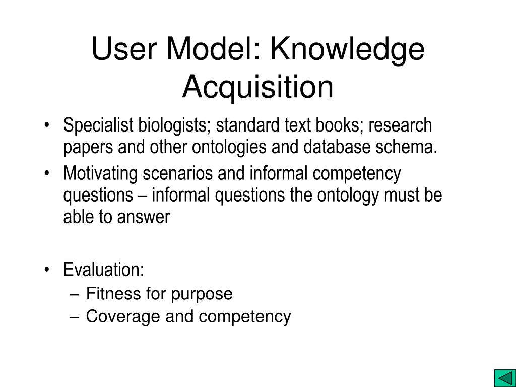 User Model: Knowledge Acquisition