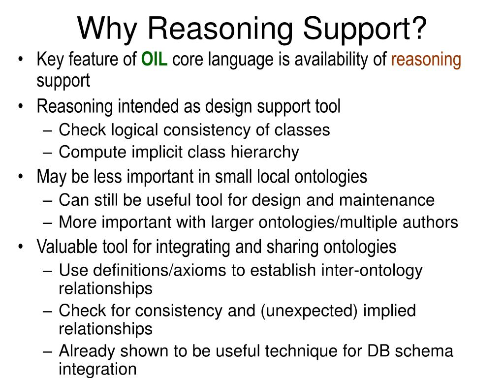 Why Reasoning Support?