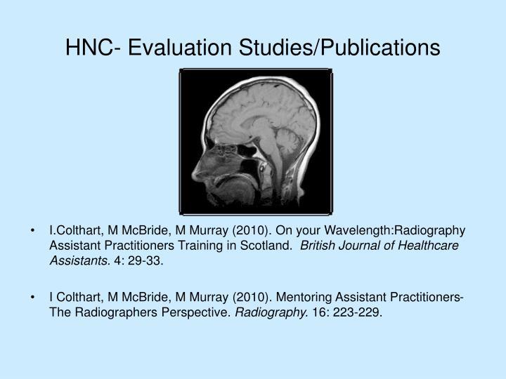 HNC- Evaluation Studies/Publications