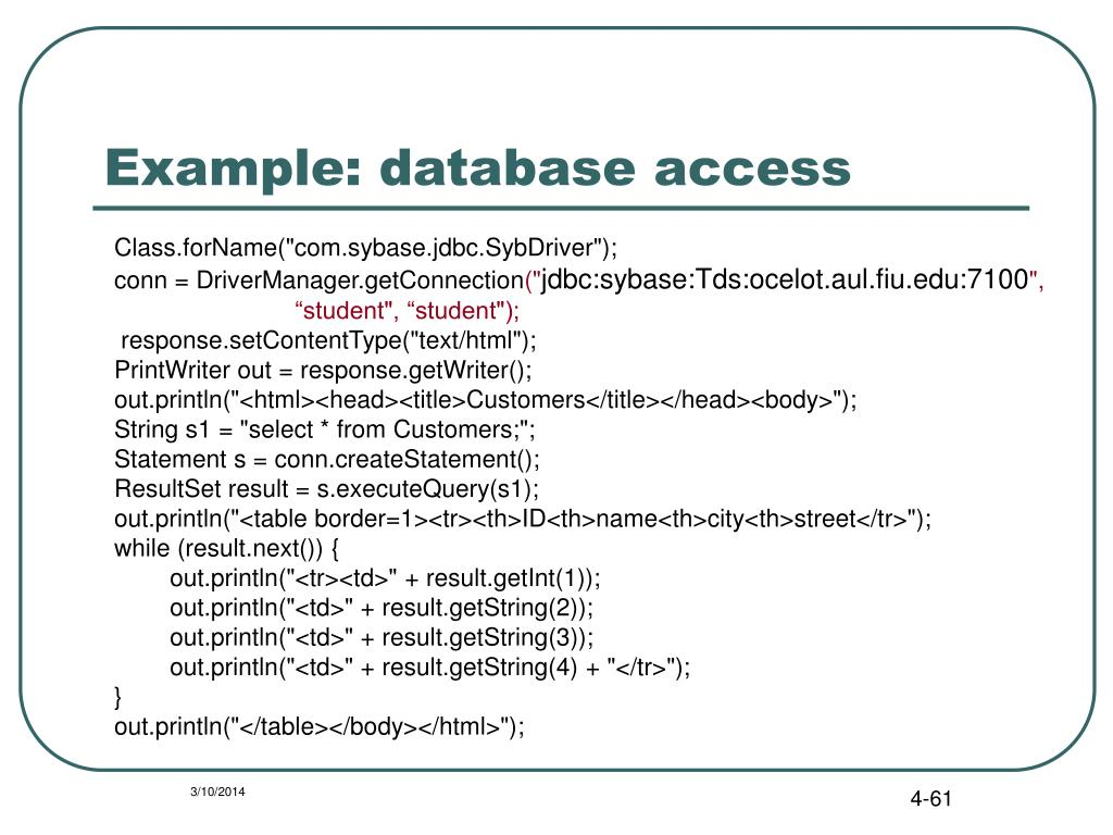 Example: database access
