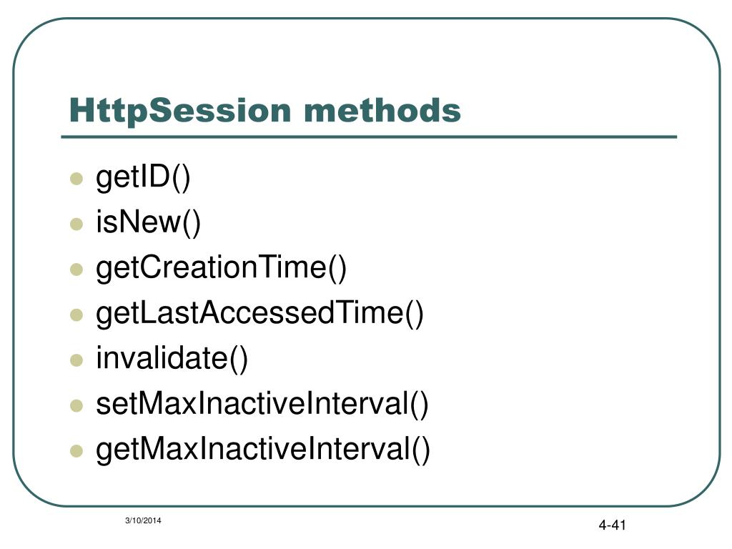 HttpSession methods