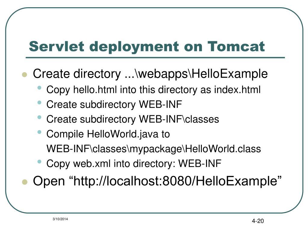Servlet deployment on Tomcat