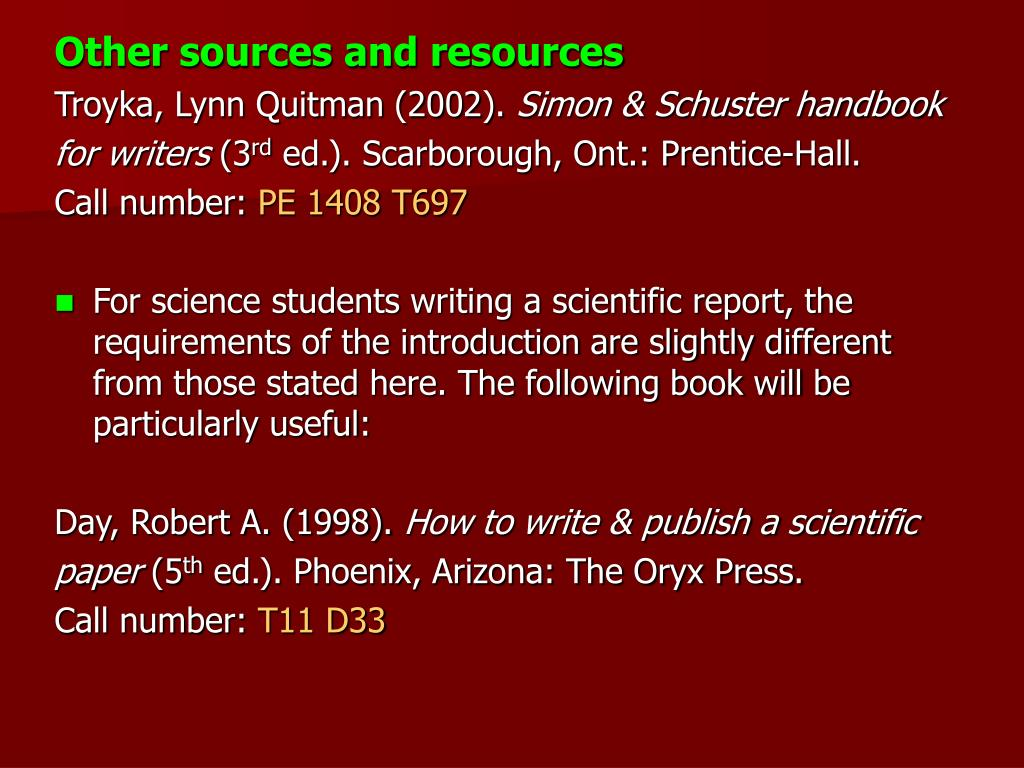 Other sources and resources
