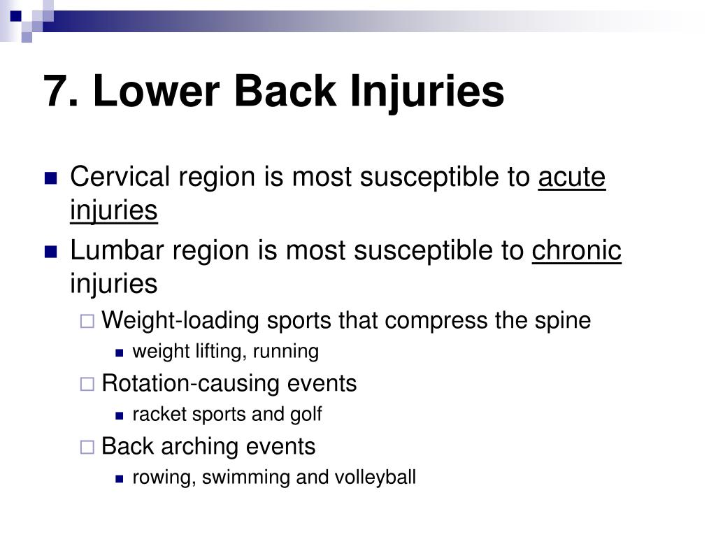 7. Lower Back Injuries