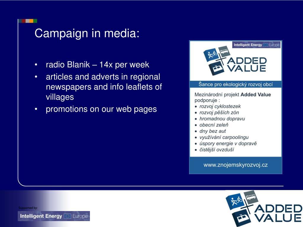 Campaign in media: