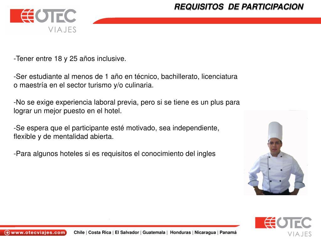 REQUISITOS  DE PARTICIPACION