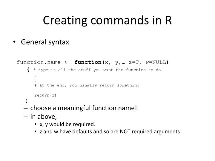 Creating commands in R