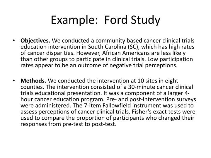Example:  Ford Study