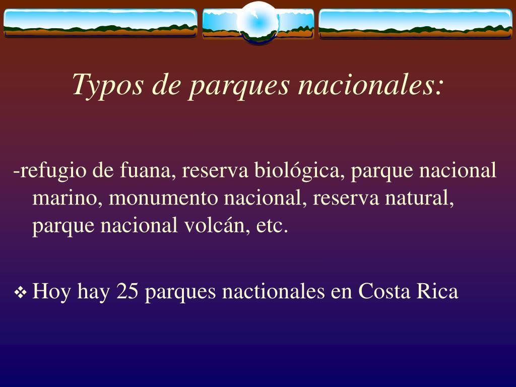 Typos de parques nacionales:
