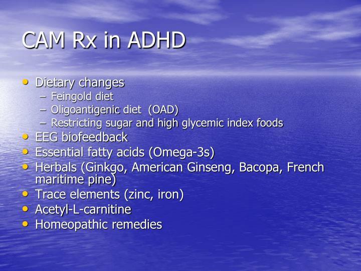 CAM Rx in ADHD