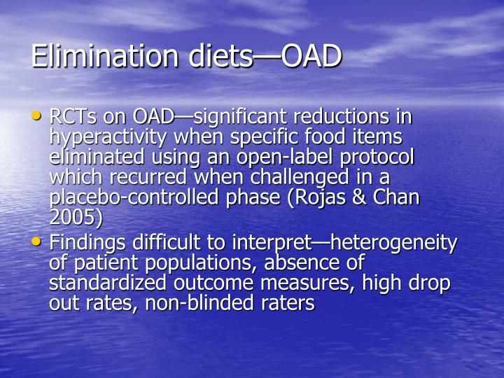 Elimination diets—OAD