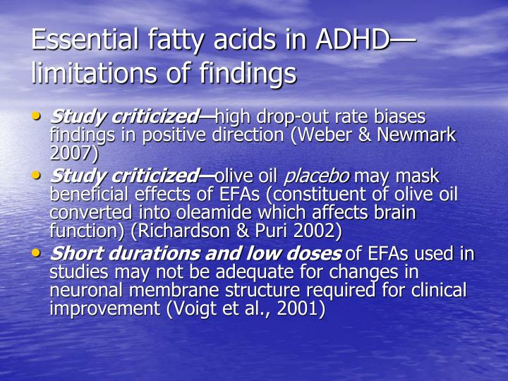 Essential fatty acids in ADHD—limitations of findings