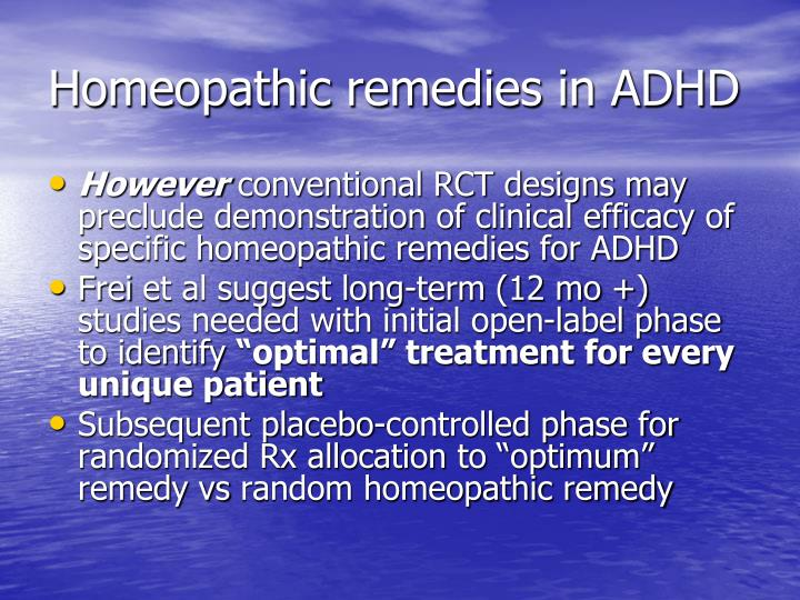 Homeopathic remedies in ADHD
