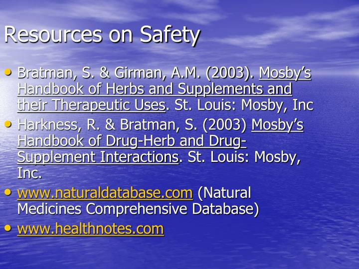 Resources on Safety