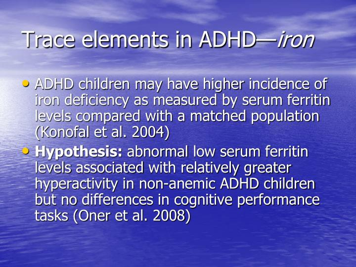 Trace elements in ADHD—