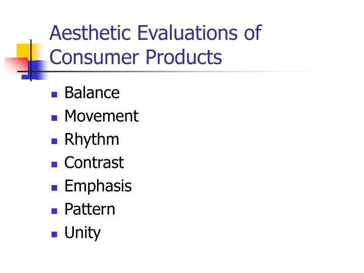 Aesthetic Evaluations of Consumer Products