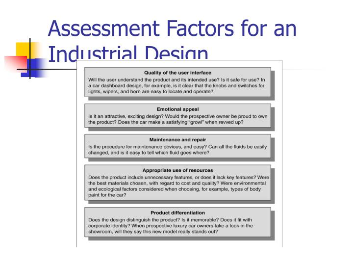 Assessment Factors for an Industrial Design