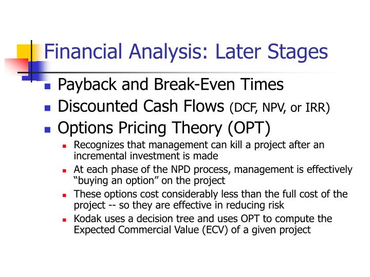 Financial Analysis: Later Stages