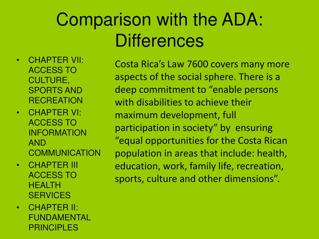 Comparison with the ADA: