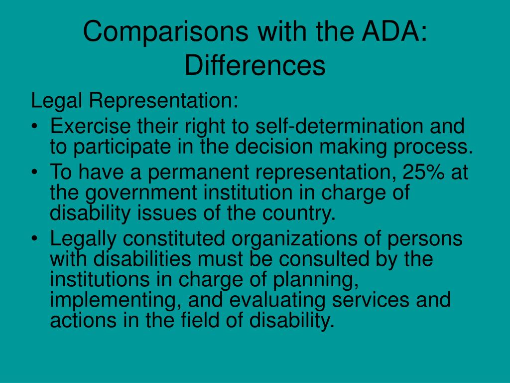 Comparisons with the ADA: