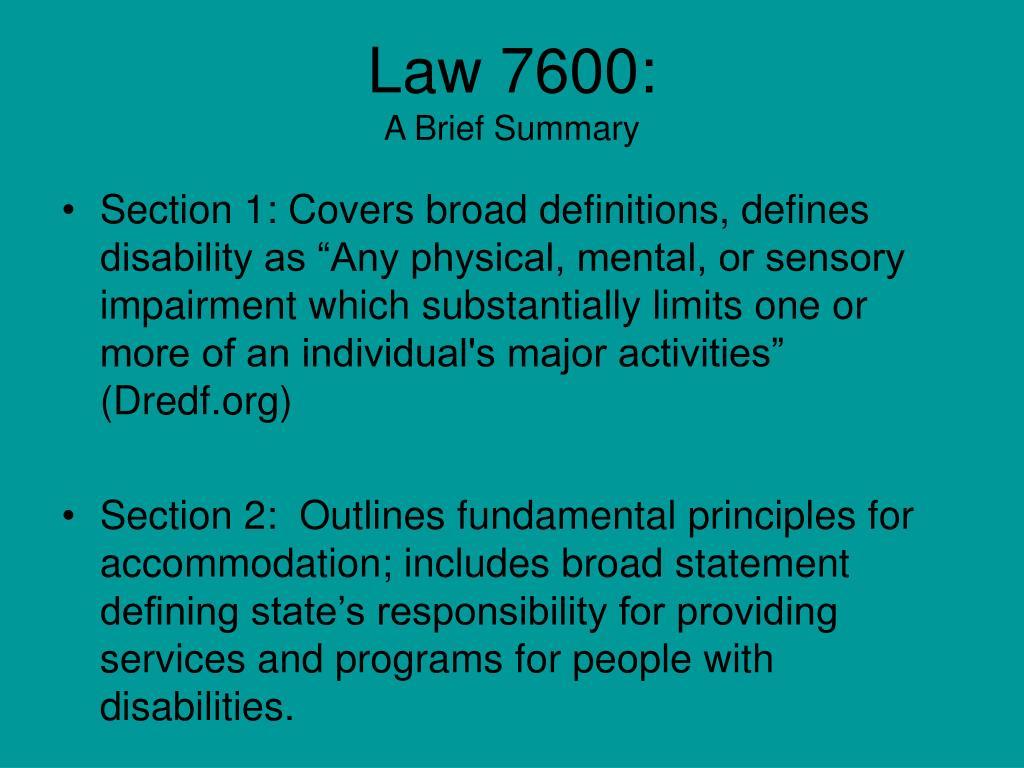 Law 7600: