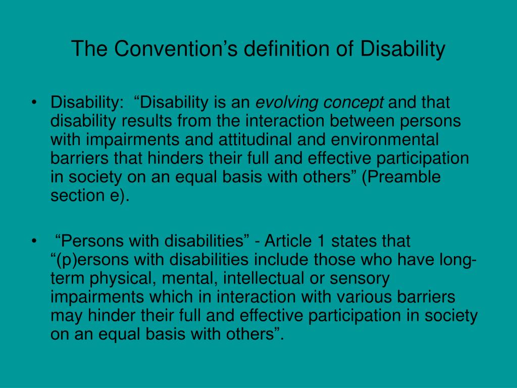 The Convention's definition of Disability