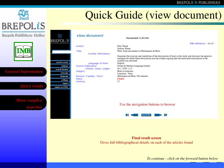 Quick Guide (view document)