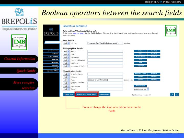 Boolean operators between the search fields
