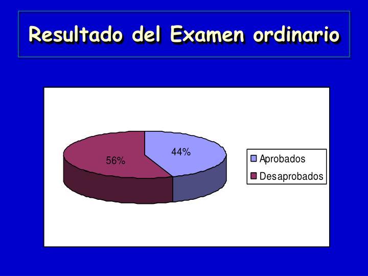 Resultado del Examen ordinario