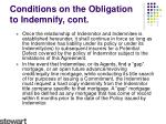 conditions on the obligation to indemnify cont2