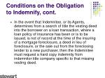 conditions on the obligation to indemnify cont3
