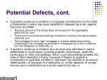 potential defects cont