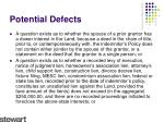 potential defects