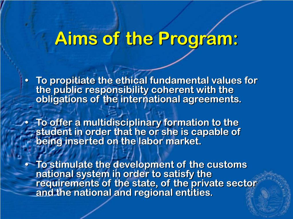 Aims of the Program: