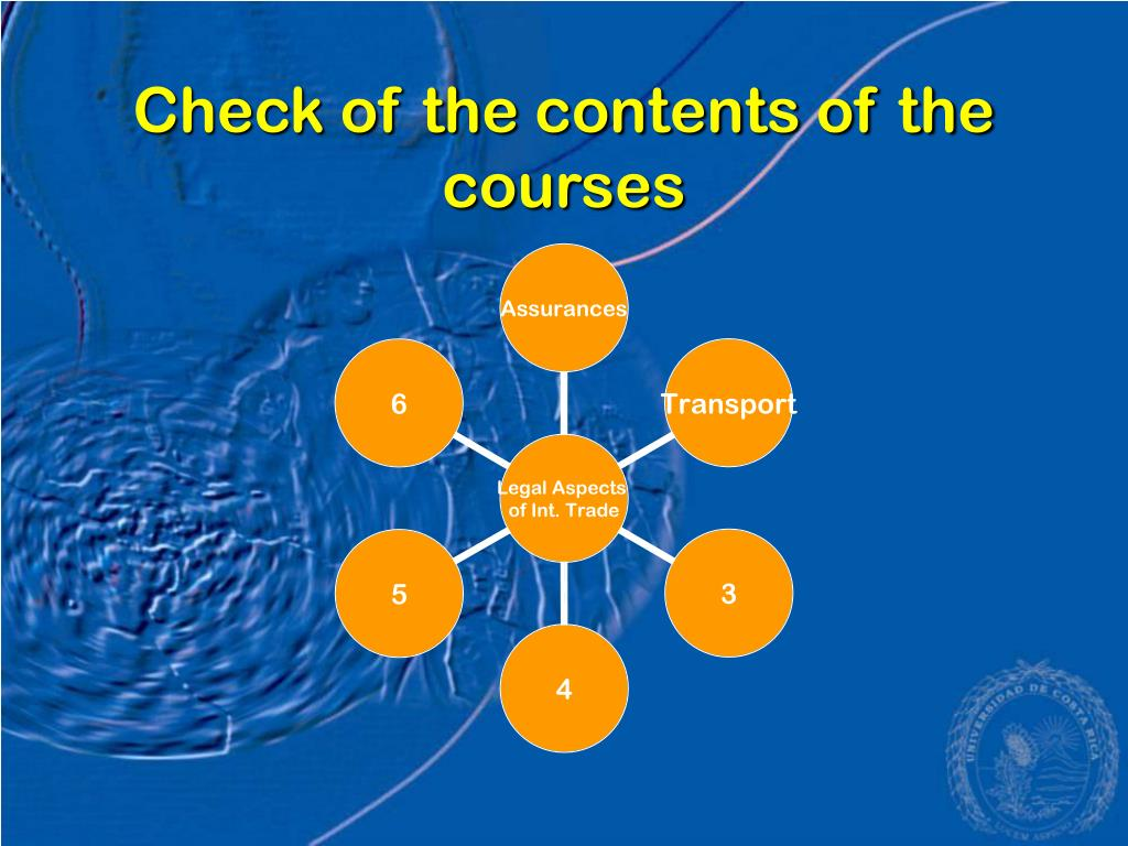 Check of the contents of the courses