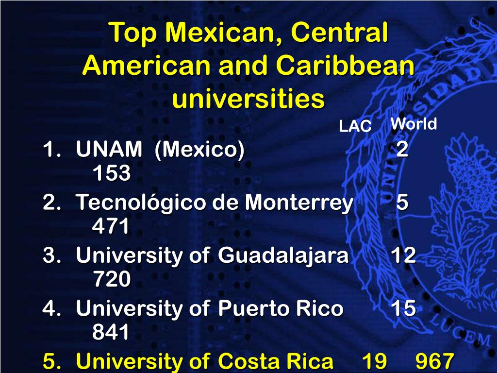 Top Mexican, Central  American and Caribbean  universities