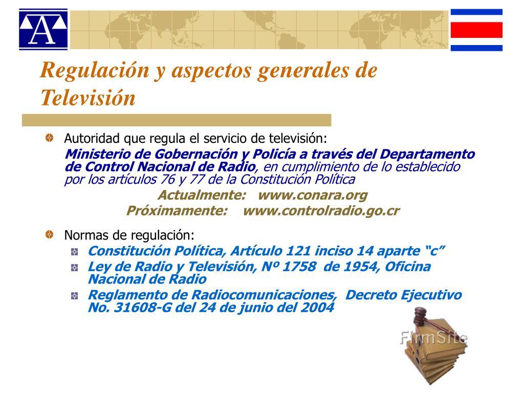 Regulación y aspectos generales de Televisión