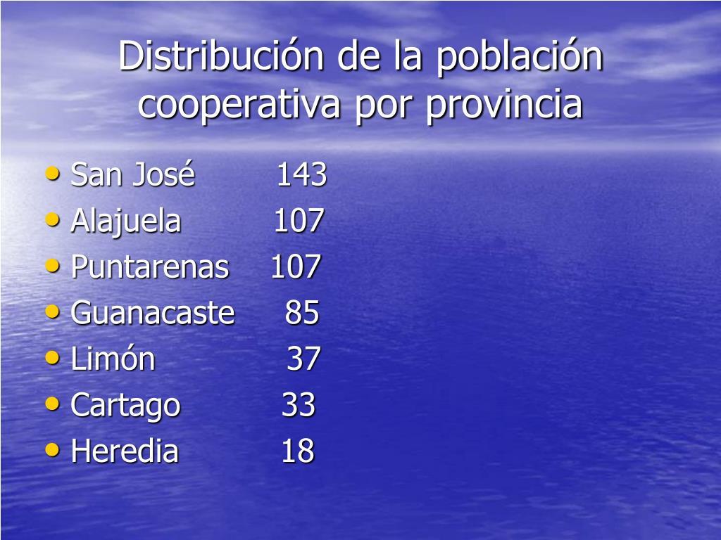 Distribución de la población cooperativa por provincia